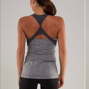 LULULEMON gray twist back tank top.